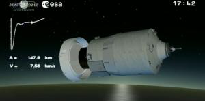 """Ore 23,52 (CEST) destinazione Iss:  il più grande """"cargo spaziale"""" Esa  è partito durante la notte dal poligono di Kourou nella Guiana francese.  ora 10 giorni di orbite circolari a 260 km di altezza"""