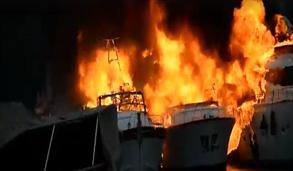 """Distrutti dal fuoco tre grandi yacht nel porto di Rapallo tra cui il """"Delfino 4"""" di Antonio Ligresti fratello di Salvatore. Non si esclude il dolo"""