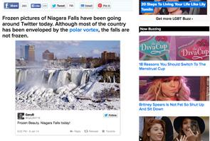 """Tra tante immagini e notizie il web porta pure le """"bufale"""": non attuali le foto delle Cascate del Niagara gelate?"""