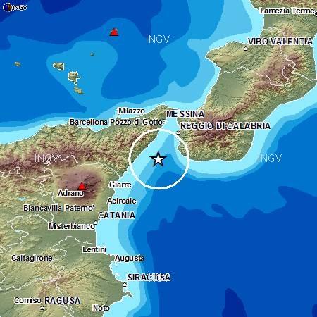 Scossa di terremoto, 3.2, nello Stretto di Messina senza conseguenze