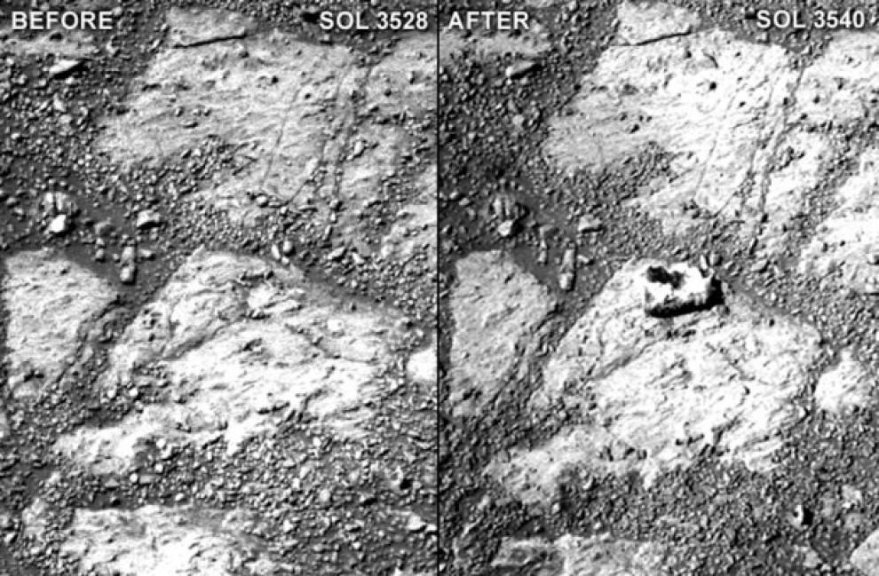 Pietra misteriosa su Marte in foto proprio dove un altro scatto di 12 giorni prima non mostrava nulla. Per la Nasa tutto normale ma un astrobiologo la cita in Tribunale