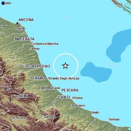 Terremoto nell'Adriatico tra Ascoli e Pescara: 4,2 di magnitudo