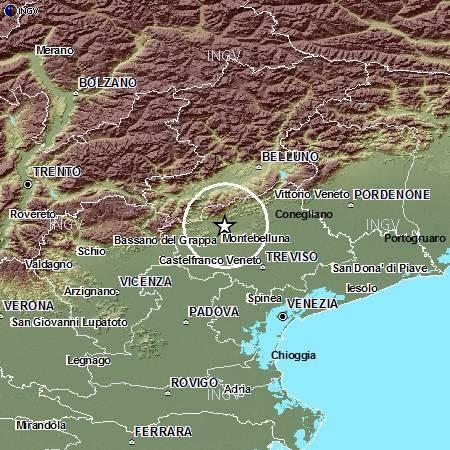 Terremoto nella notte in Veneto, 3.5