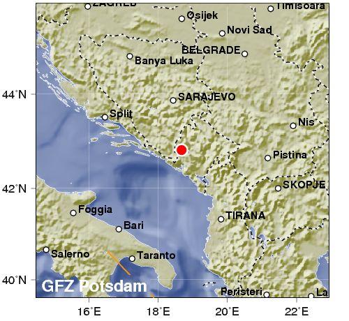 Terremoto di magnitudo 4.2 scuote il Montenegro. Continua attività sismica nell'Adriatico