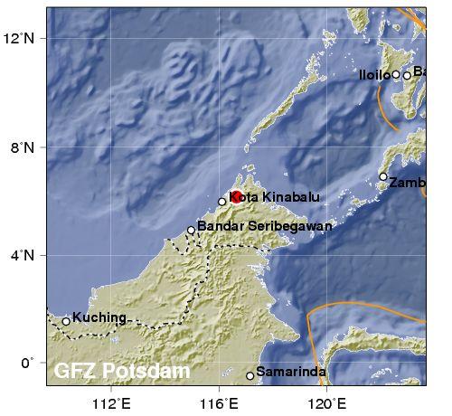 Fortissimo terremoto, magnitudo 6, registrato in Malaysia, nel Borneo