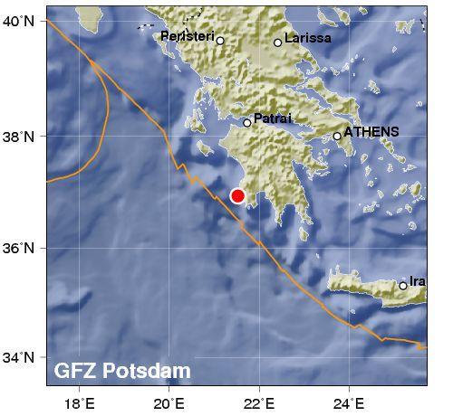 Terremoto colpisce la Grecia nella parte occidentale del Peloponneso
