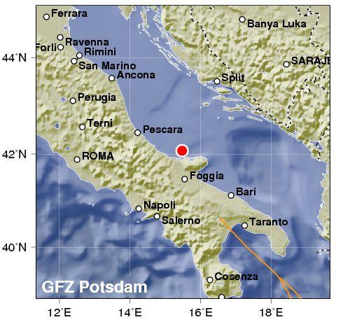 Terremoto d'intensità 4.2 lungo costa italiana dell'Adriatico