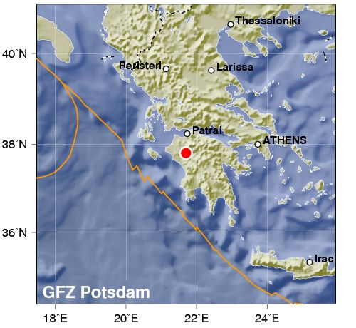 Grecia: terremoto nel Peloponneso nei pressi di Olimpia. Intensità 4.5