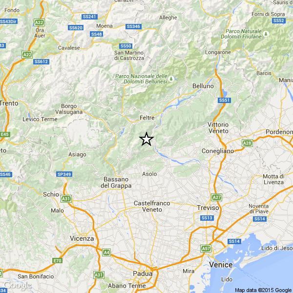 Terremoto a Belluno, tra Asolo e Feltre, avvertito in tutto il Veneto