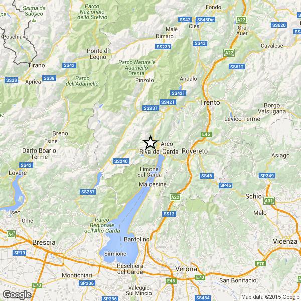 Trentino: terremoto nei pressi di Riva del Garda. Avvertito in una larga area