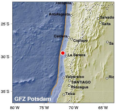 Terremoto in Cile sulla costa. Rischio tsunami