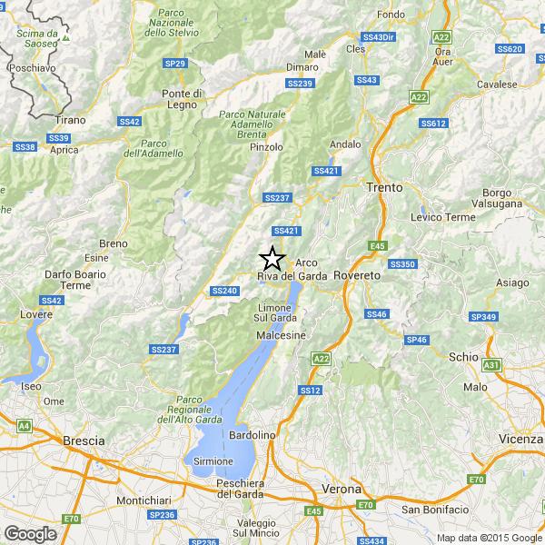 Terremoto in Trentino nei pressi del Lago di Garda