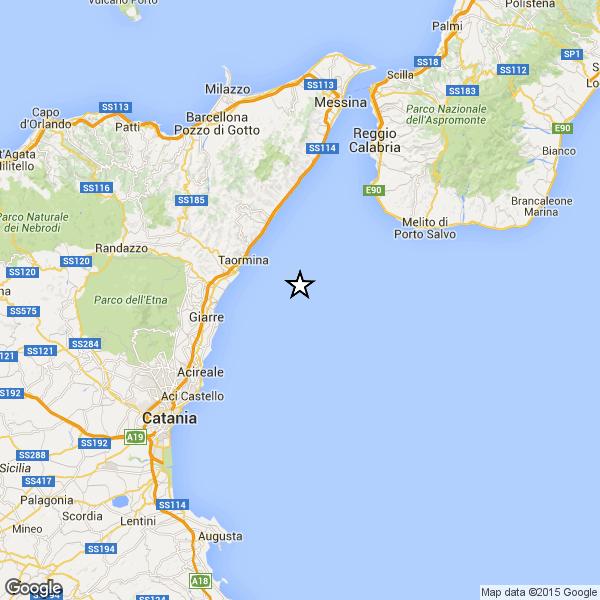 Serie di scosse di terremoto vicino Taormina