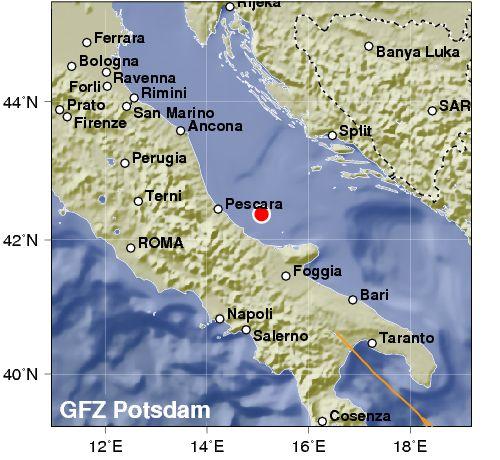 Due scosse di terremoto nell'Adriatico di fronte a Pescara