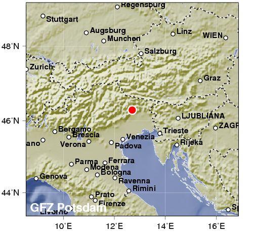 Terremoto tra Veneto e Dolomiti del Friuli. 3,2 di magnitudo