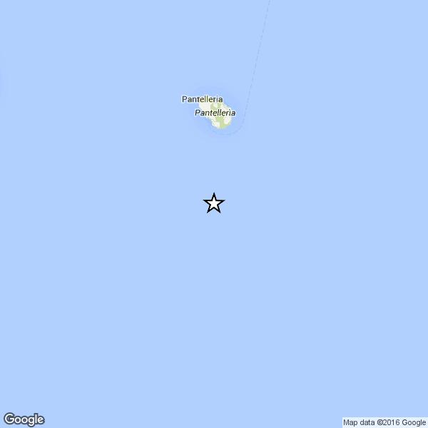 Forte terremoto in mare, nel Canale di Sicilia, nei pressi di Pantelleria