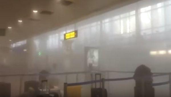 Aeroporto di Bruxelles. Vetrate  infante