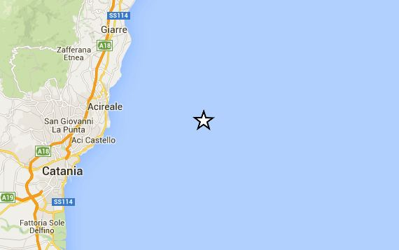 Terremoto nel mare di Catania
