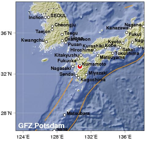 Kumamoto, scossa di terremoto di magnitudo 7.1