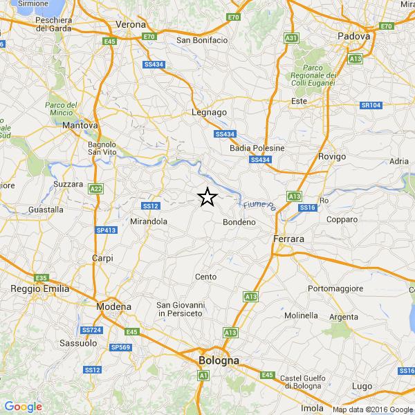 Terremoto fa paura tra Mantova e Rovigo
