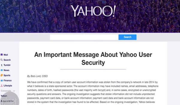 Yahoo: rubati i dati di 500 milioni di utenti