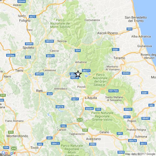 Terremoto: forte scossa tra Amatrice e l'Aquila