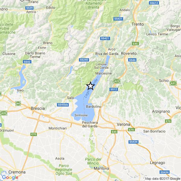 Paura per terremoto nel Lago di Garda. 3.6 di magnitudo