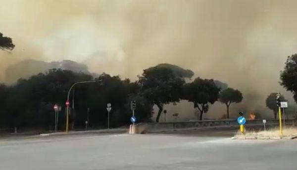 Roma: caos incendi ad Ostia e sulla Cristoforo Colombo