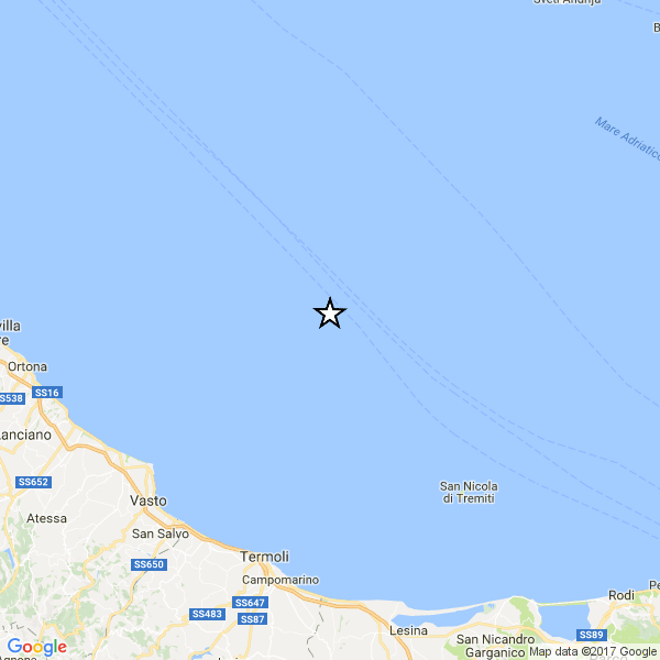 Scossa di magnitudo 3.7 al largo della costa abruzzese