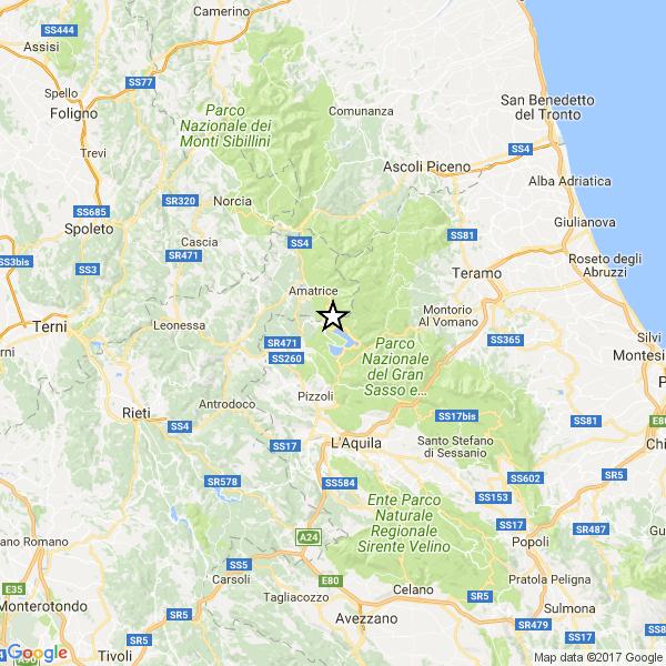 Terremoto 3.9 tra Rieti e l'Aquila, non lontano da Amatrice