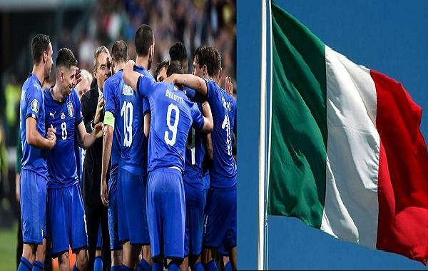 Marco Verratti of Italy celebrates with team mates and coach Roberto Mancini after scoring the goal of 2-1  Torino 11-06-2019 Juventus Stadium  European Qualifiers Qualifying round  Italy - Bosnia  Photo Image sport/Insidefoto